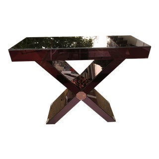 "Purple Beveled Mirror ""x"" Console Table"
