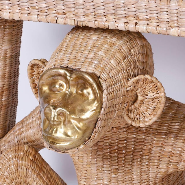 Wood Mario Torres Brass Face Monkey Console For Sale - Image 7 of 10