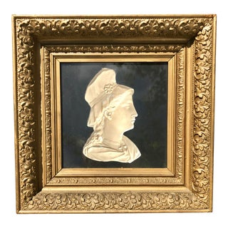 Framed Neoclassical Plaster Bust Relief For Sale