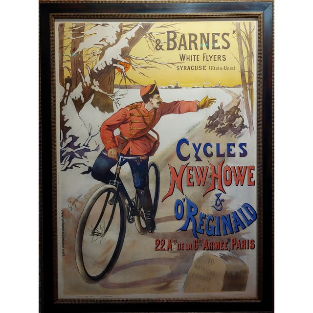 Gaston Fanty-Lescure -Rare 1896 French Bicycle Poster Cycles New-Howe & O'Reginald,French poster by Gaston Fanty-Lescure...