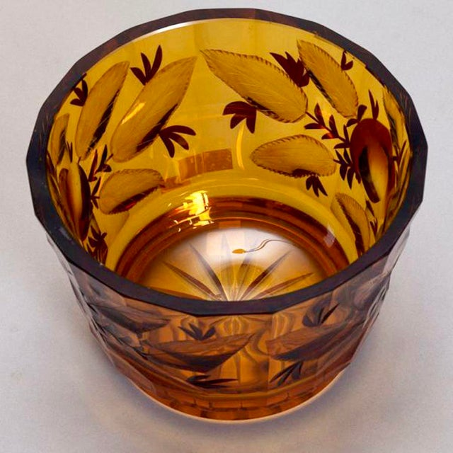 Bohemian Amber Glass Bowl With Apples For Sale - Image 4 of 5