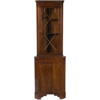 1960s Georgian Narrow Mahogany Corner Cabinet Cupboard For Sale