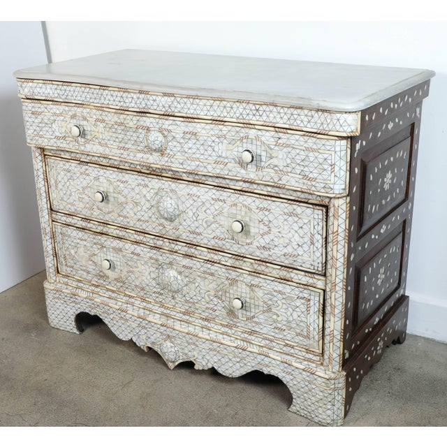 Pair of Syrian White Mother-Of-Pearl Inlay Wedding Dressers For Sale - Image 9 of 10