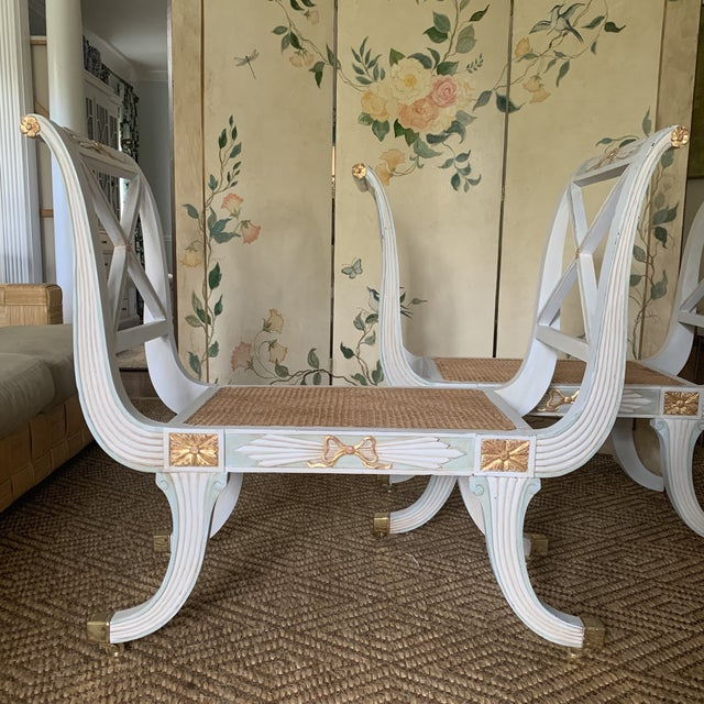 Traditional Swedish Blue and Gold Regency Style Cane Benches - a Pair For Sale - Image 3 of 9