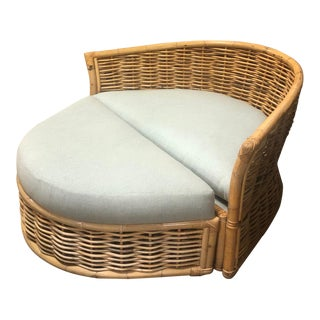 Faux Bamboo and Rattan Chair and Ottoman Set For Sale