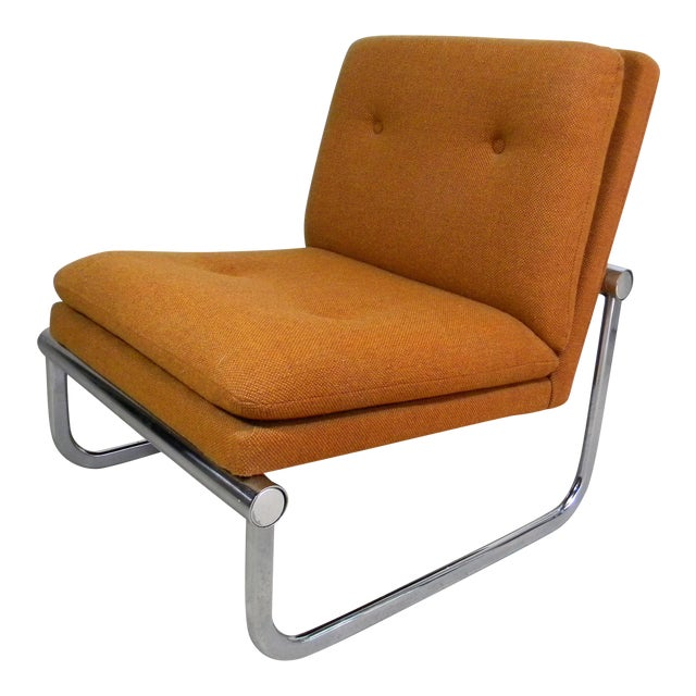 Mid Century Armless Chrome Chair - Image 1 of 6