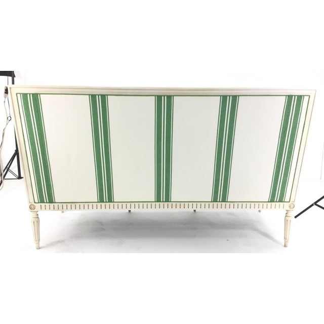 Textile Mark D. Sikes for Henredon Green Stripped Presido Sofa/Bench For Sale - Image 7 of 8