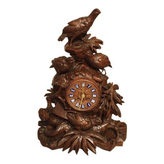 Antique Carved Black Forest Mantel Clock, Circa 1885 For Sale