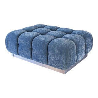 Oam Studio Modular Custom Tufted Velvet Ottoman With Chrome Base For Sale