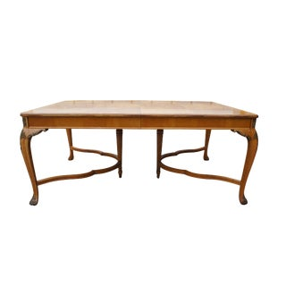 Robert Irwin Furniture Co Crotch Walnut French Louis XVI Dining Table Florentine For Sale