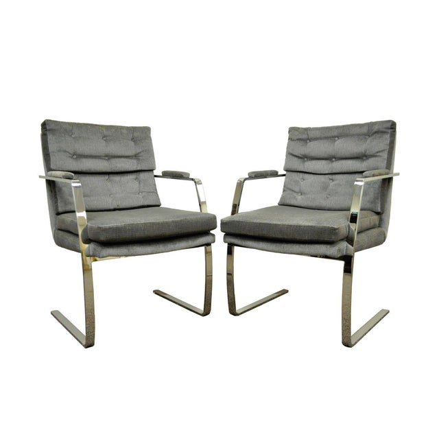 Pair Vintage Mid Century Modern Chrome Steel Cantilever Arm Chairs Baughman Style For Sale - Image 11 of 11
