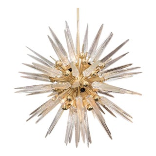 Clear Murano Glass Spike Sputnik with Interior Brass Spheres For Sale