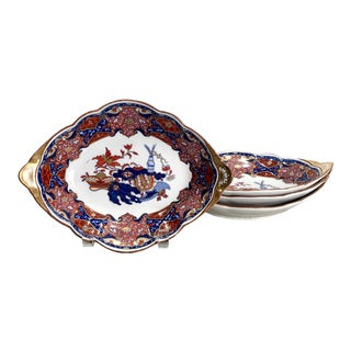 Antique Frog Pattern Dessert Diamond Shaped Dishes, England Circa 1810 - Set of 4 For Sale