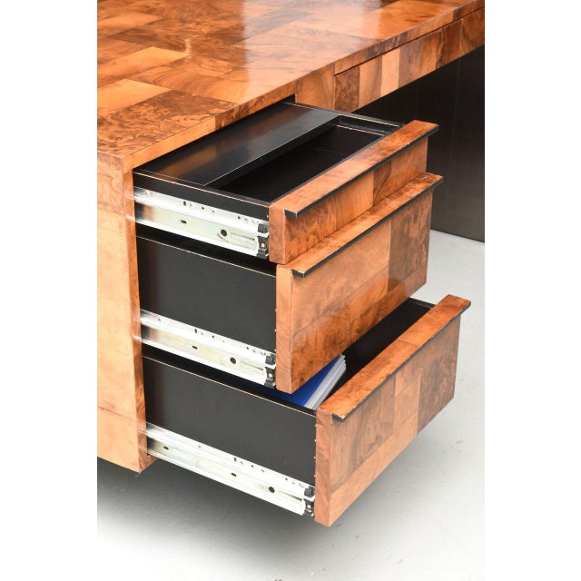 Brown American Modern Burled Walnut and Pewter Cityscape Desk, Paul Evans For Sale - Image 8 of 9