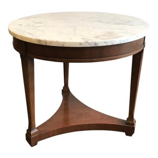 Mid-Century Lane Furniture Round Marble Top Side Table For Sale