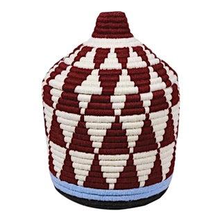 Moroccan Plum & White Bread Basket For Sale