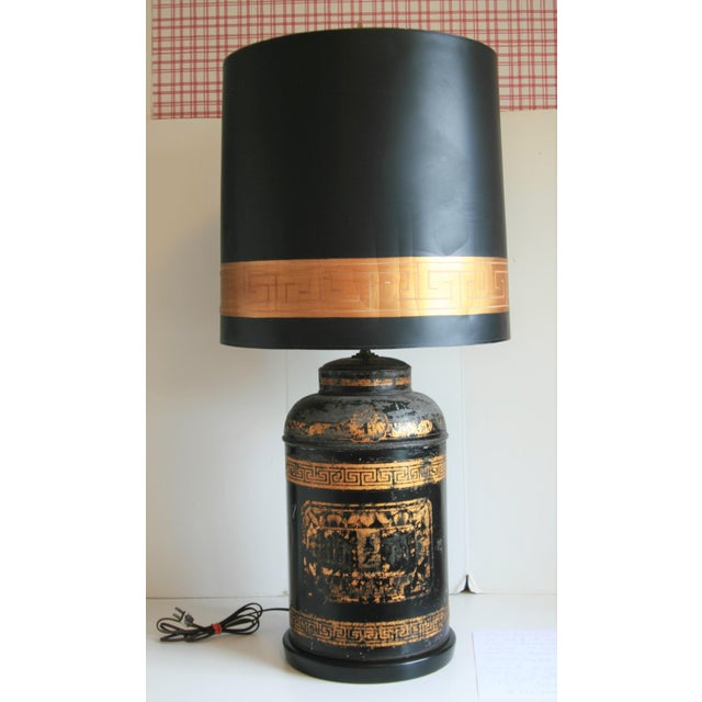 Late 19th Century Antique Chinoiserie Metal Tea Canister Lamps - A Pair For Sale - Image 12 of 13