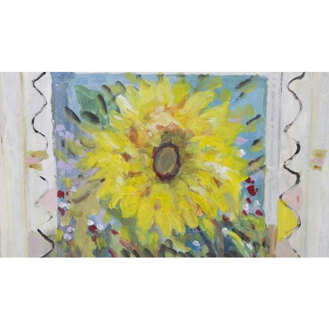 Traditional Mladen Novak Sunflower Acrylic Painting on Antique Tin Panel For Sale - Image 3 of 7