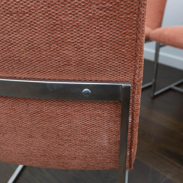 Fabric Set of 4 Milo Baughman Style Dining Chairs For Sale - Image 7 of 10