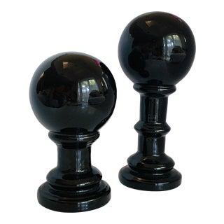 Black Ceramic Orb Footed Spheres Set of 2 For Sale