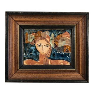 Vintage Abstract Modern Bas-Relief Ceramic Tile Portait Signed Ruth Faktor For Sale