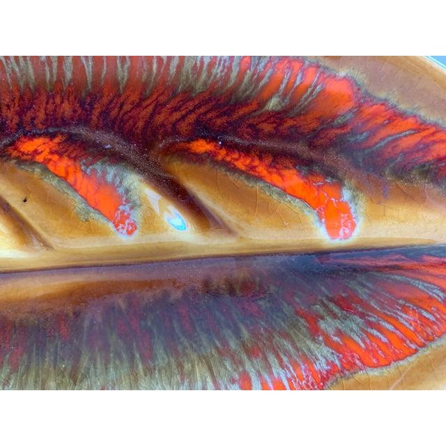 Ceramic Mid Century Leaf Shape Lava Glaze Ashtray For Sale - Image 7 of 10