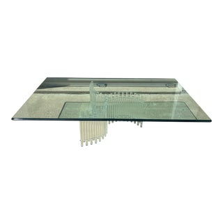 Vintage Lucite & Glass Coffee Table by Ritts Furniture Company For Sale