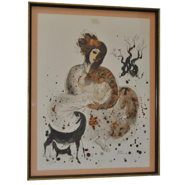 Colored Lithograph by Reuven Rubin, 1960 For Sale