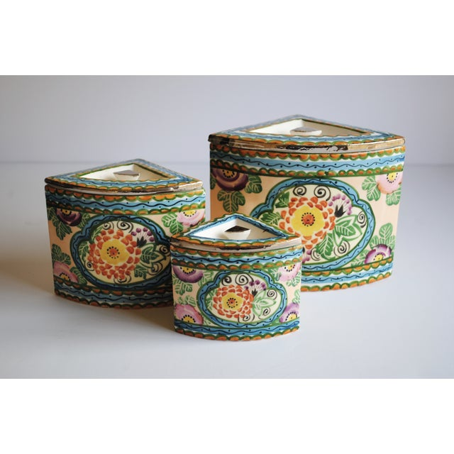 Vintage Handpainted Ceramic Canisters, Set of 3 - Image 4 of 4