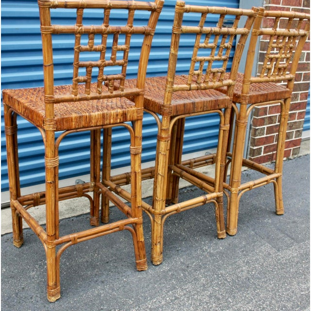 Tan Rattan Wicker McGuire-Style Fretwork Bar Stools - Set of 3 For Sale - Image 8 of 11