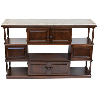 Mid-Century Console With New Limestone Top For Sale