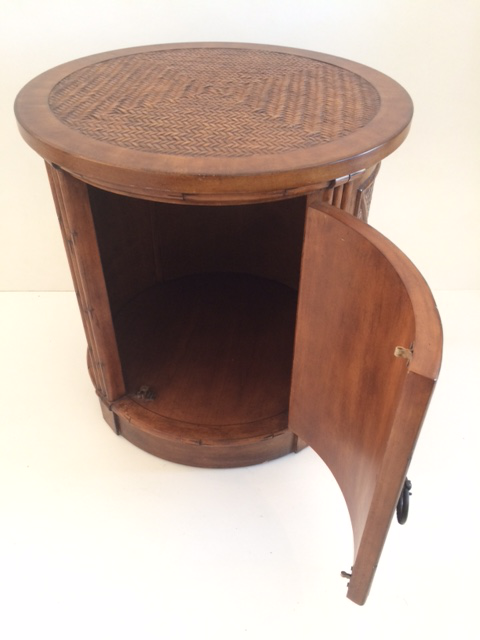 Vintage Faux Bamboo Drum Side Table With Storage   Image 6 Of 9