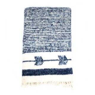 Navy & White Wool Blanket