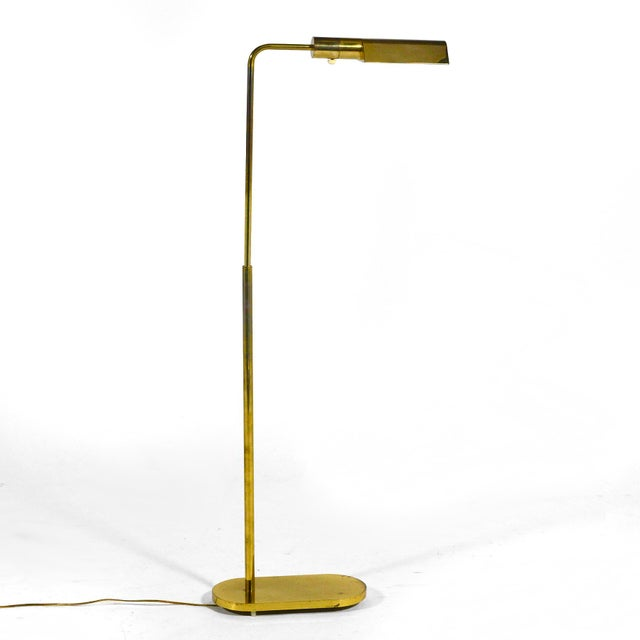 1970s Casella Adjustable Brass Pharmacy Floor Lamp For Sale - Image 5 of 11