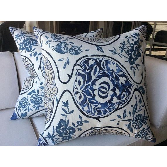 """From Schumacher, these pillow covers are fashioned from """"Katsugi"""". Katsugi is a Schumacher signature print with a..."""