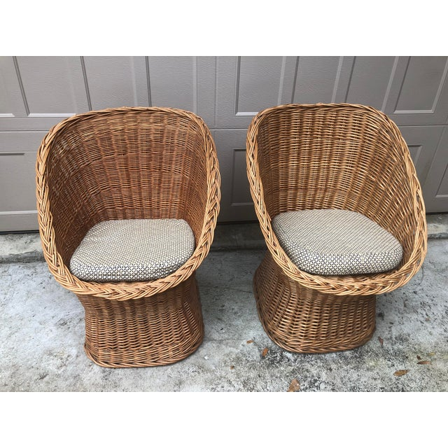 Blue 1960's Vintage Wicker Scoop Chairs & Cushions - A Pair For Sale - Image 8 of 8