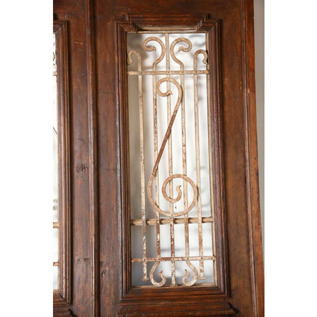 Set of French Painted Double Entry Door With Iron Insert For Sale - Image 4 of 11