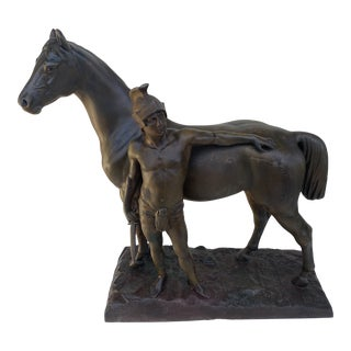 Roman Soldier With Reclining on Horse Sculpture in White Metal . For Sale