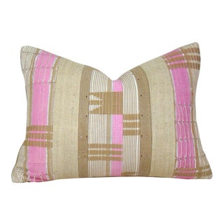 African Boho Chic Handwoven Aso Oke Khaki and Pink Cotton Pillow Cover