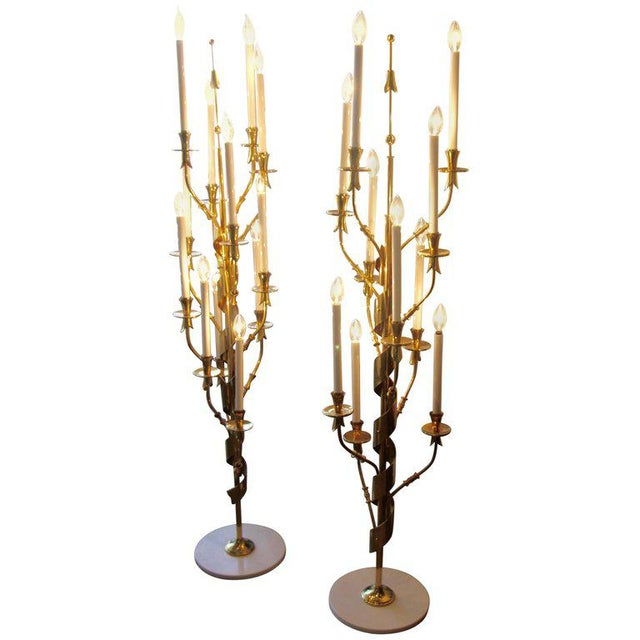 Stilnovo Brass With Marble Bases Candelabra Floor Lamps - a Pair For Sale - Image 12 of 12