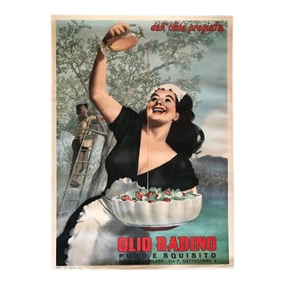 1950s Original Linen Backed Olio Radino Italian Olive Oil Advertising Poster by Gino Boccasile For Sale