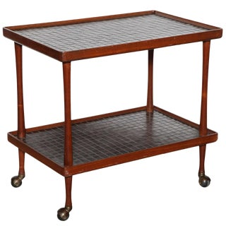 1950's Jane and Gordon Martz Dark Teak Bar Cart For Sale