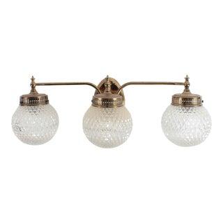 Vintage Brass 3-Lamp Vanity FIxture