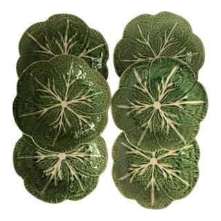 Vintage Bordallo Pinheiro Cabbage Leaf Plates - Set of 6 For Sale