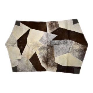 "Mosaic Cowhide Patchwork Area Rug Octagon Gray - 3'7"" X 5'9"" For Sale"