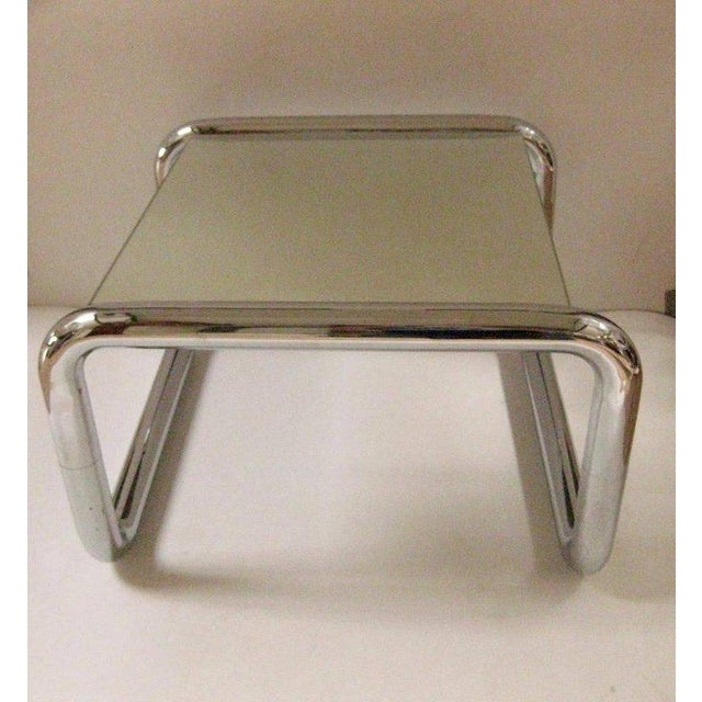 Mid-Century Modern Chromed Tubular Metal Side Table With Floating Mirrored Top - Image 6 of 7
