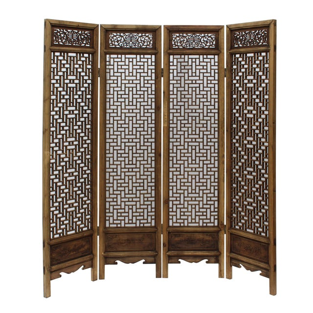 Chinese Vintage Finish Geometric Pattern Wood Panel Screen For Sale - Image 9 of 10