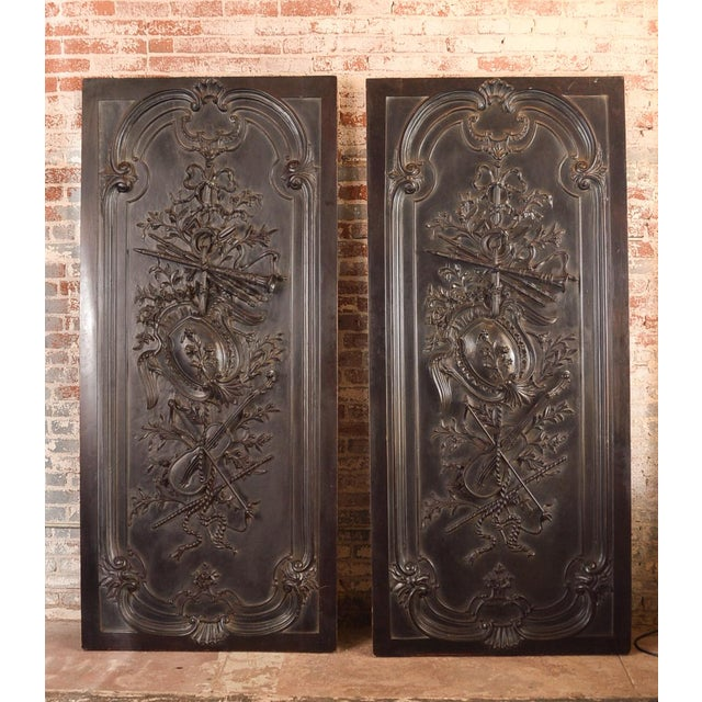 Antique Neoclassical Carved Doors - Set of 4 - Image 3 of 11