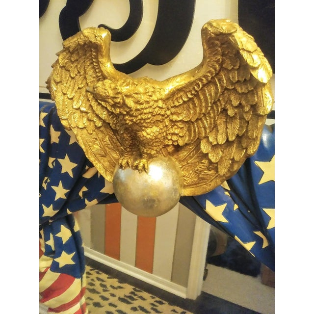 Rare Stunning Huge Draped American Flag Eagle Whimsical Wall Mirror For Sale - Image 11 of 13