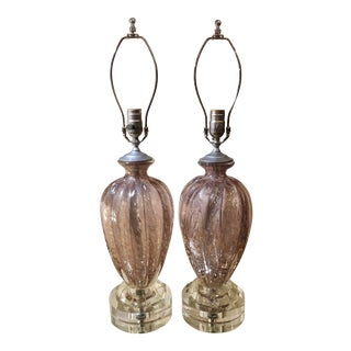 Pair of Murano Italian Art Glass Designer Lamps by Barovier & Toso For Sale